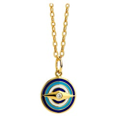 Syna Yellow Gold Evil Eye Enamel Reversible Pendant with Champagne Diamonds