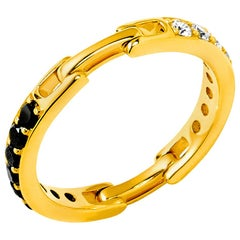 Syna Yellow Gold Flexible Cosmic Band with Black and Champagne Diamonds