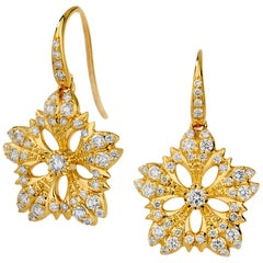 Syna Yellow Gold Flower Earrings with Champagne Diamonds