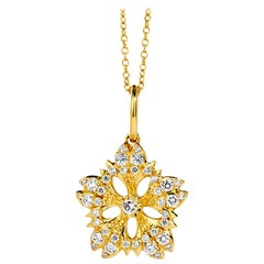 Syna Yellow Gold Flower Necklace with Champagne Diamonds