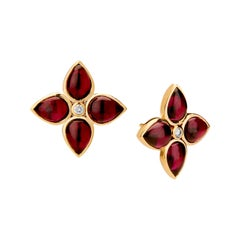 Syna Yellow Gold Garnet Earrings with Champagne Diamonds