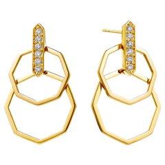 Syna Yellow Gold Geometrix Octa Earrings with Champagne Diamonds