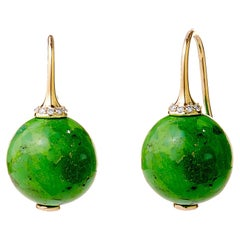 Syna Yellow Gold Green Turquoise Earrings with Champagne Diamonds