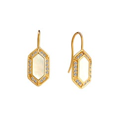 Syna Yellow Gold Hex Earrings with Mother of Pearl and Champagne Diamonds