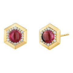 Syna Yellow Gold Hex Earrings with Rhodolite Garnet and Champagne Diamonds