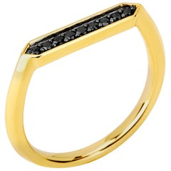 Syna Yellow Gold Hex Ring with Black Diamonds