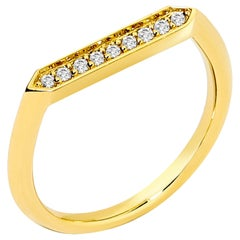 Syna Yellow Gold Hex Ring with Champagne Diamonds