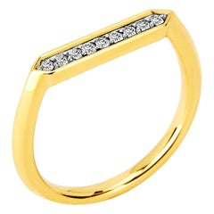 Syna Yellow Gold Hex Ring with Diamonds