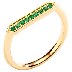 Syna Yellow Gold Hex Ring with Emeralds