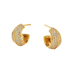 Syna Yellow Gold Hoop Earrings with Champagne Diamonds
