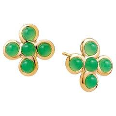Syna Yellow Gold Jardin Chrysoprase Earrings