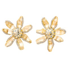 Syna Yellow Gold Jardin Flower Earrings with Champagne Diamonds