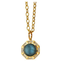Syna Yellow Gold Labradorite Pendant with Champagne Diamonds