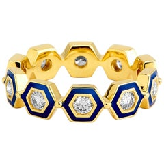 Syna Yellow Gold Lapis Blue Enamel Ring with Champagne Diamonds