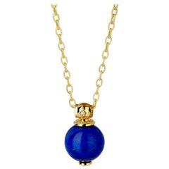 Syna Yellow Gold Lapis Lazuli Pendant with Champagne Diamonds