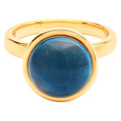Syna Yellow Gold Large London Blue Topaz Ring