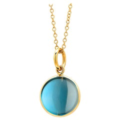 Syna Yellow Gold London Blue Topaz Chakra Charm Pendant
