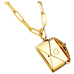 Syna Yellow Gold Love Letter Pendant with Champagne Diamond