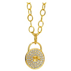 Syna Yellow Gold Love Locked Pendant with Champagne Diamonds