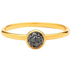 Syna Yellow Gold Mini Black Diamond Pave Ring