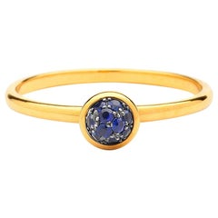 Syna Yellow Gold Mini Blue Sapphire Pave Ring