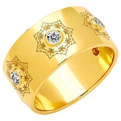 Syna Yellow Gold Mogul Band with Champagne Diamonds