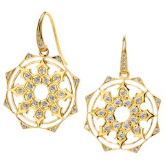 Syna Yellow Gold Mogul Earrings with Champagne Diamonds