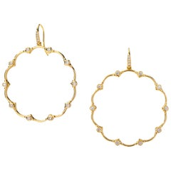 Syna Yellow Gold Mogul Flower Earrings with Champagne Diamonds