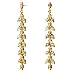 Syna Yellow Gold Mogul Leaf Champagne Diamond Earrings