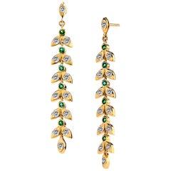Syna Yellow Gold Mogul Leaf Emerald Champagne Diamond Earrings