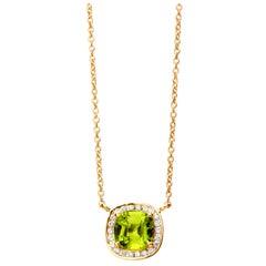 Syna Yellow Gold Mogul Necklace with Peridot and Champagne Diamonds