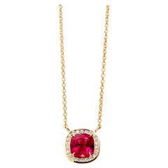 Syna Yellow Gold Mogul Necklace with Rubellite and Champagne Diamonds