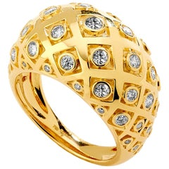 Syna Yellow Gold Mogul Ring with Champagne Diamonds