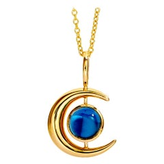 Syna Yellow Gold Moon Pendant with London Blue Topaz and Moon Quartz