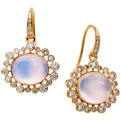 Syna Yellow Gold Moon Quartz Earrings with Champagne Diamonds