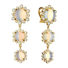 Syna Yellow Gold Moon Quartz Hex Earrings with Champagne Diamonds