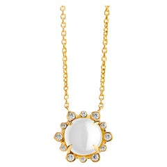 Syna Yellow Gold Moon Quartz Necklace with Champagne Diamonds