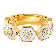 Syna Yellow Gold Mother of Pearl Hex Ring with Champagne Diamonds
