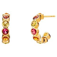 Syna Yellow Gold Multi Gem Hoop Earrings