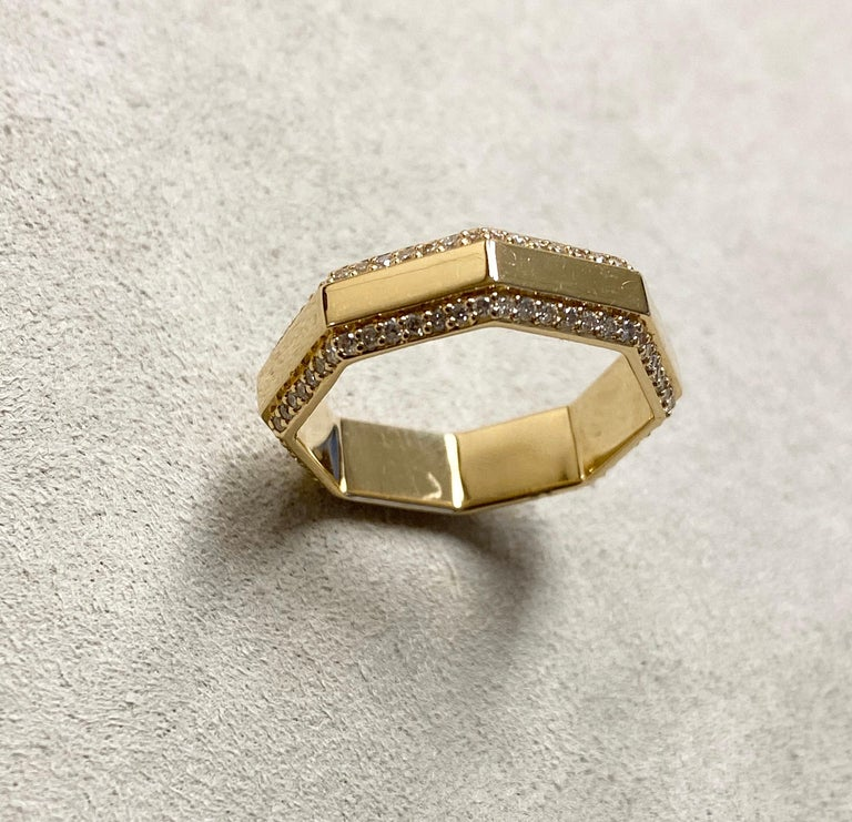 Created in 18 karat yellow gold Champagne diamonds 0.45 ct approx Ring size US 6.5, Can be made in other ring sizes on special order   About the Designers ~ Dharmesh & Namrata  Drawing inspiration from little things, Dharmesh & Namrata Kothari have
