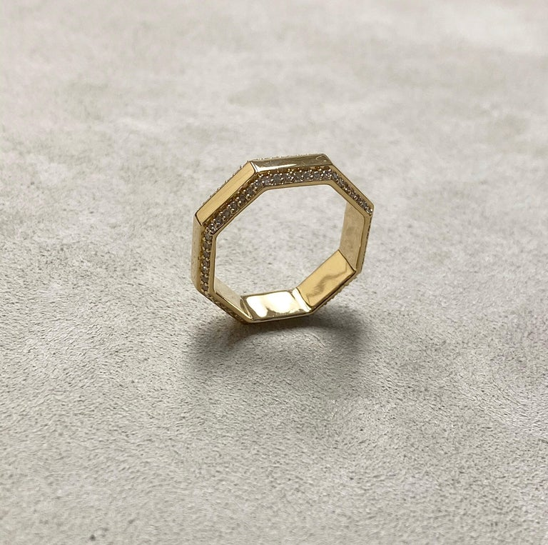 Contemporary Syna Yellow Gold Octagon Band with Diamonds For Sale
