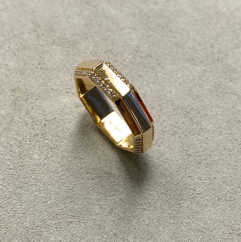Round Cut Syna Yellow Gold Octagon Band with Diamonds For Sale