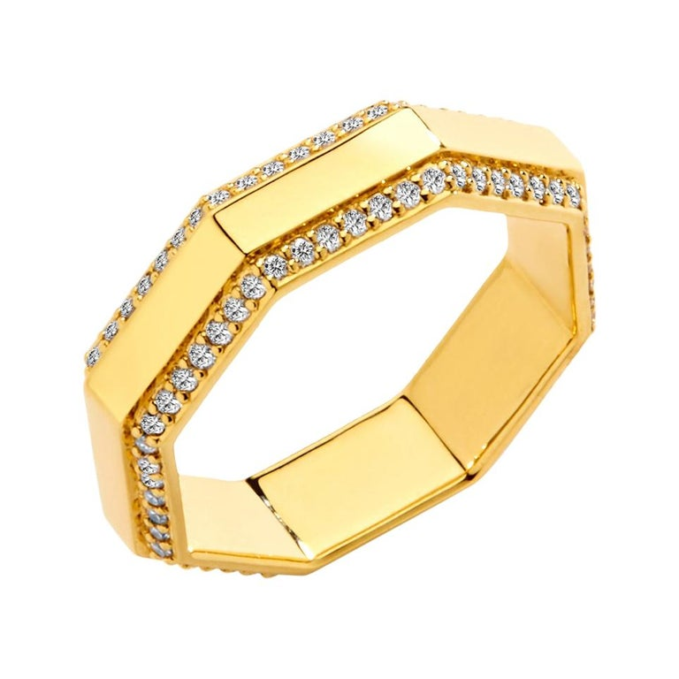 Syna Yellow Gold Octagon Band with Diamonds For Sale