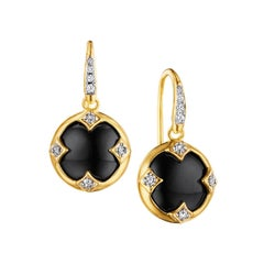 Syna Yellow Gold Onyx Chakra Earrings with Champagne Diamonds