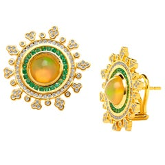 Syna Yellow Gold Opal and Emerald Earrings with Champagne Diamonds