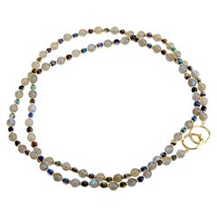 Syna Yellow Gold Opal and Labradorite Bead Necklace