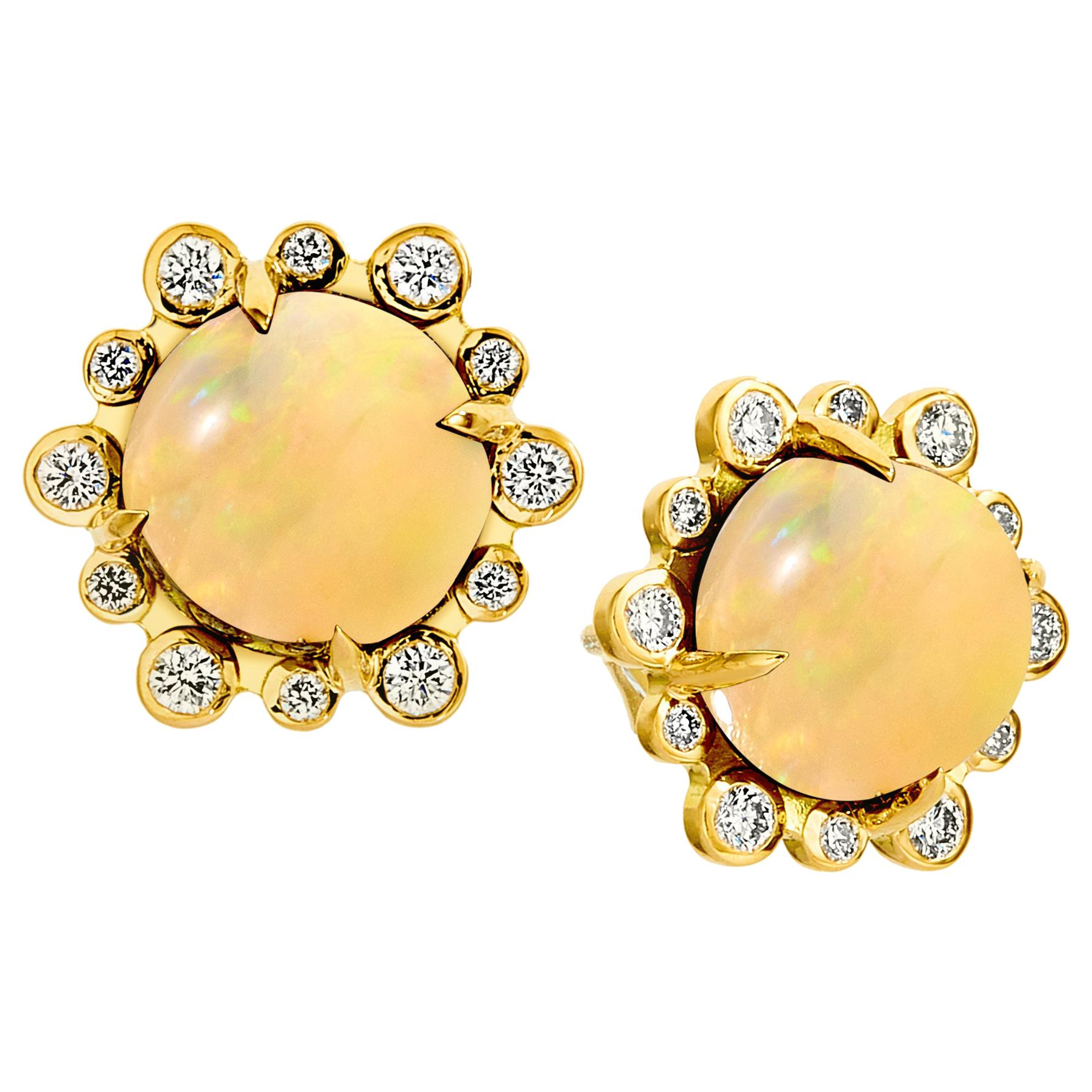 Syna Yellow Gold Opal Earrings with Champagne Diamonds