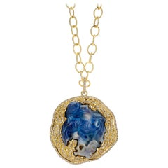 Syna Yellow Gold Opal Fish Pendant with Champagne Diamonds