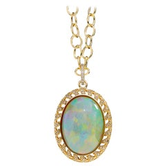 Syna Yellow Gold Opal Pendant with Champagne Diamonds
