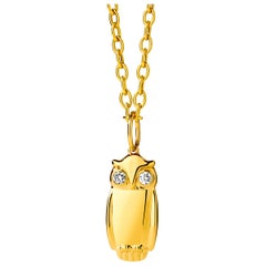 Syna Yellow Gold Owl Pendant with Champagne Diamonds